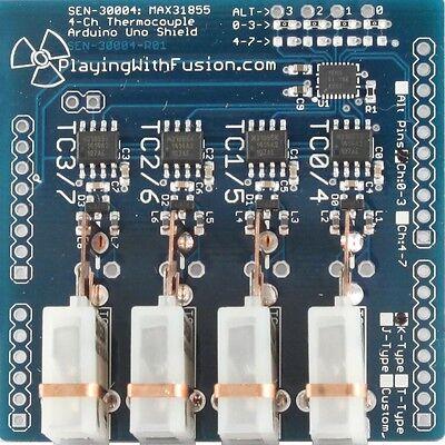 MAX31855 Quad-Ch Thermocouple Interface, Arduino Shield, MAX6675 upgrade