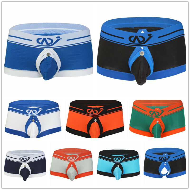 US Mens Boxer Briefs Open Butts Underwear Shorts Bulge Pouch Trunks Underpants