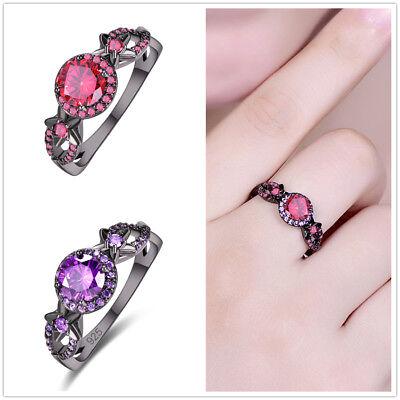 Exquisite Garnet & Amethyst Gemstone Black Gold plated Wedding Ring Size 6 7 8 9