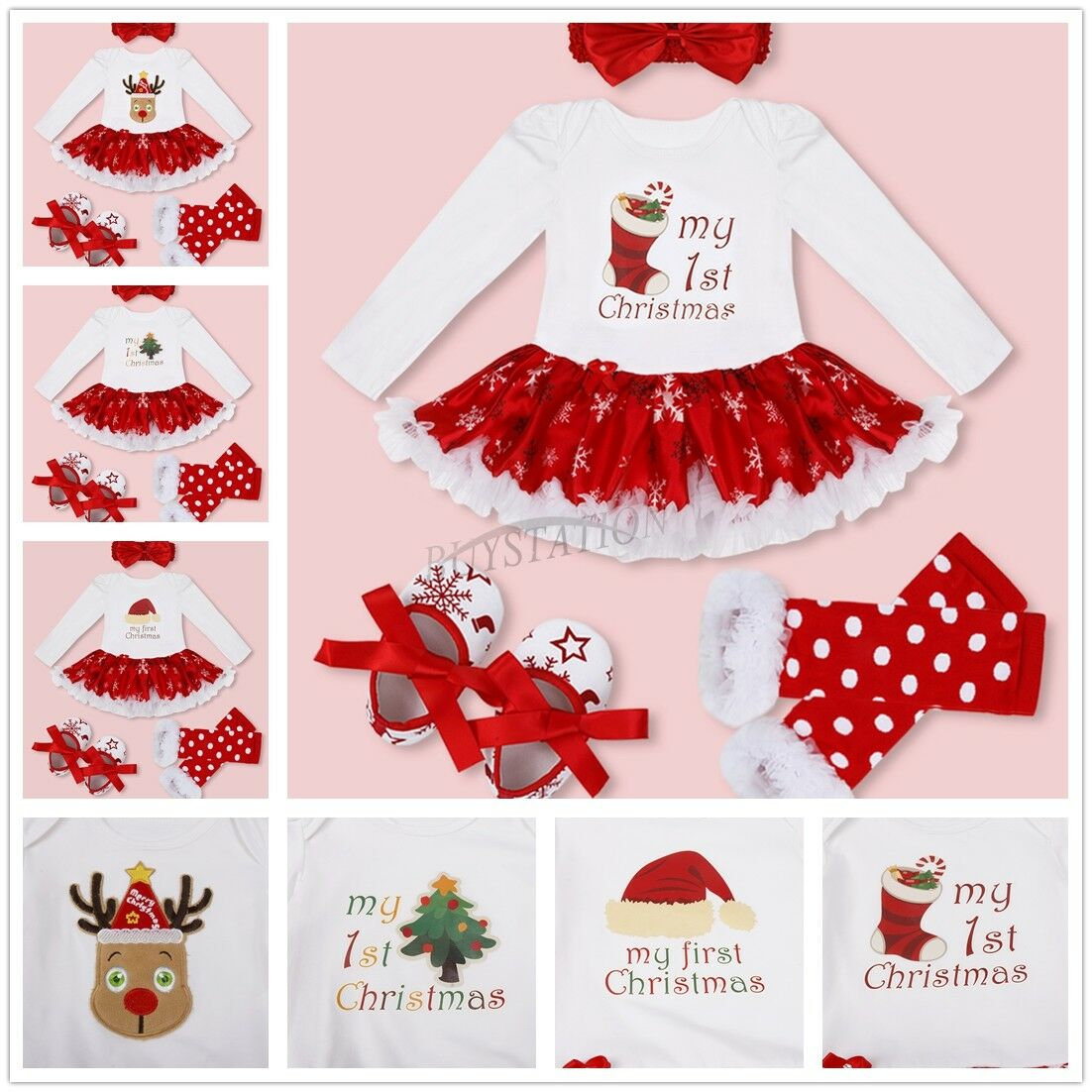 Infant Baby Girls My First Christmas Romper Tutu Dress Outfits Clothes Jumpsuit