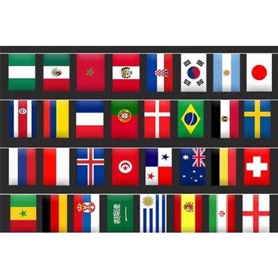 Wimpel-Kette 8,5 m WM 2018 Russland Girlande mit 32 Nationalflaggen Fahnenkette