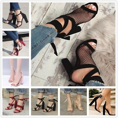 Women Suede Ankle Strap High Heels Clear Back Gladiator Sandals Sexy Shoes New Strap Sexy High Heels
