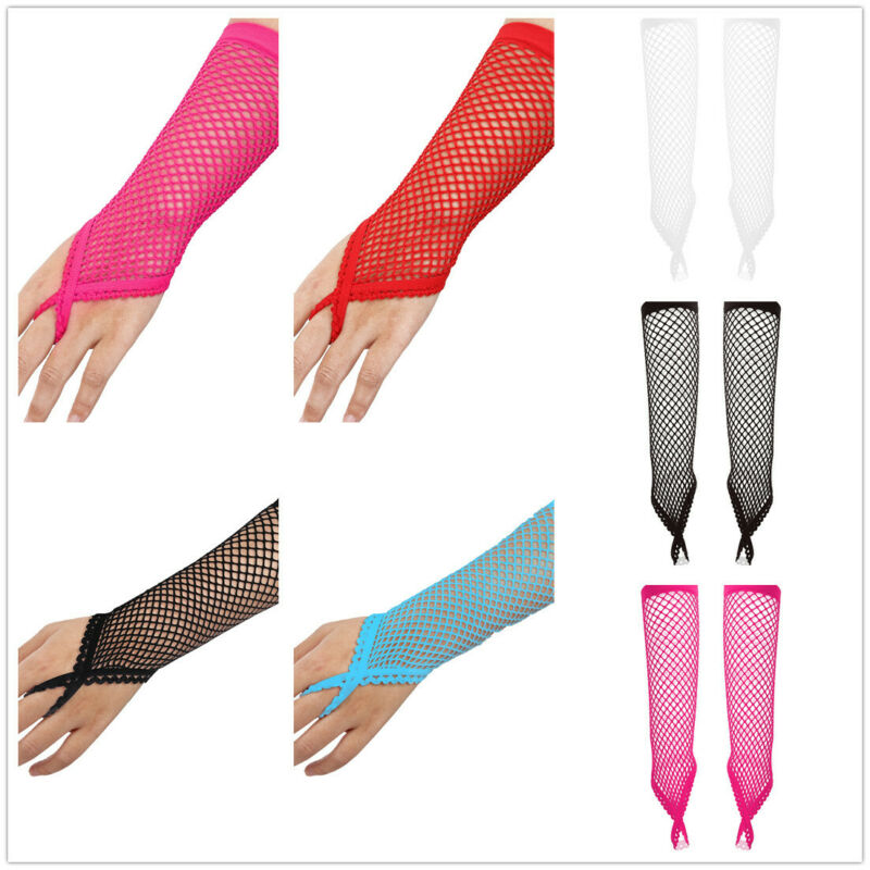 Womens Fishnet Gloves 80s Nylon Colored Elbow Length Fingerless Gloves Long Mesh Sheer Stretchy Gloves Loop Arm Warmer for Opera Costume Party