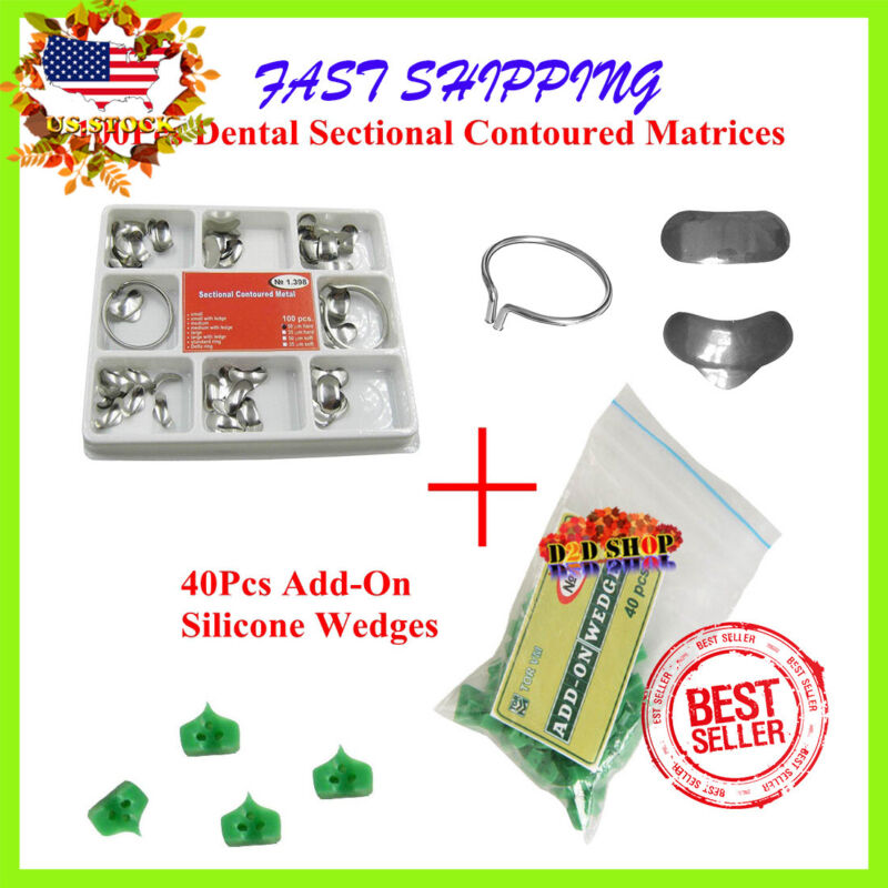Dental 100Pcs Sectional Contoured Matrices Matrix Ring Delta +40PC Add-On Wedges