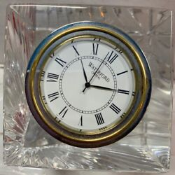 WATERFORD Crystal Clear Cut Square Miniature Shelf Desk Clock