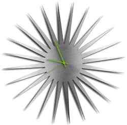 Large Metal Wall Clock Silver Star Green Hands, Sleek Modern Home Room, Chic Art