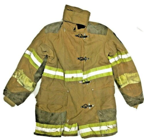 42x34 Globe Firefighter Brown Turnout Jacket Coat with Yellow Tape J881