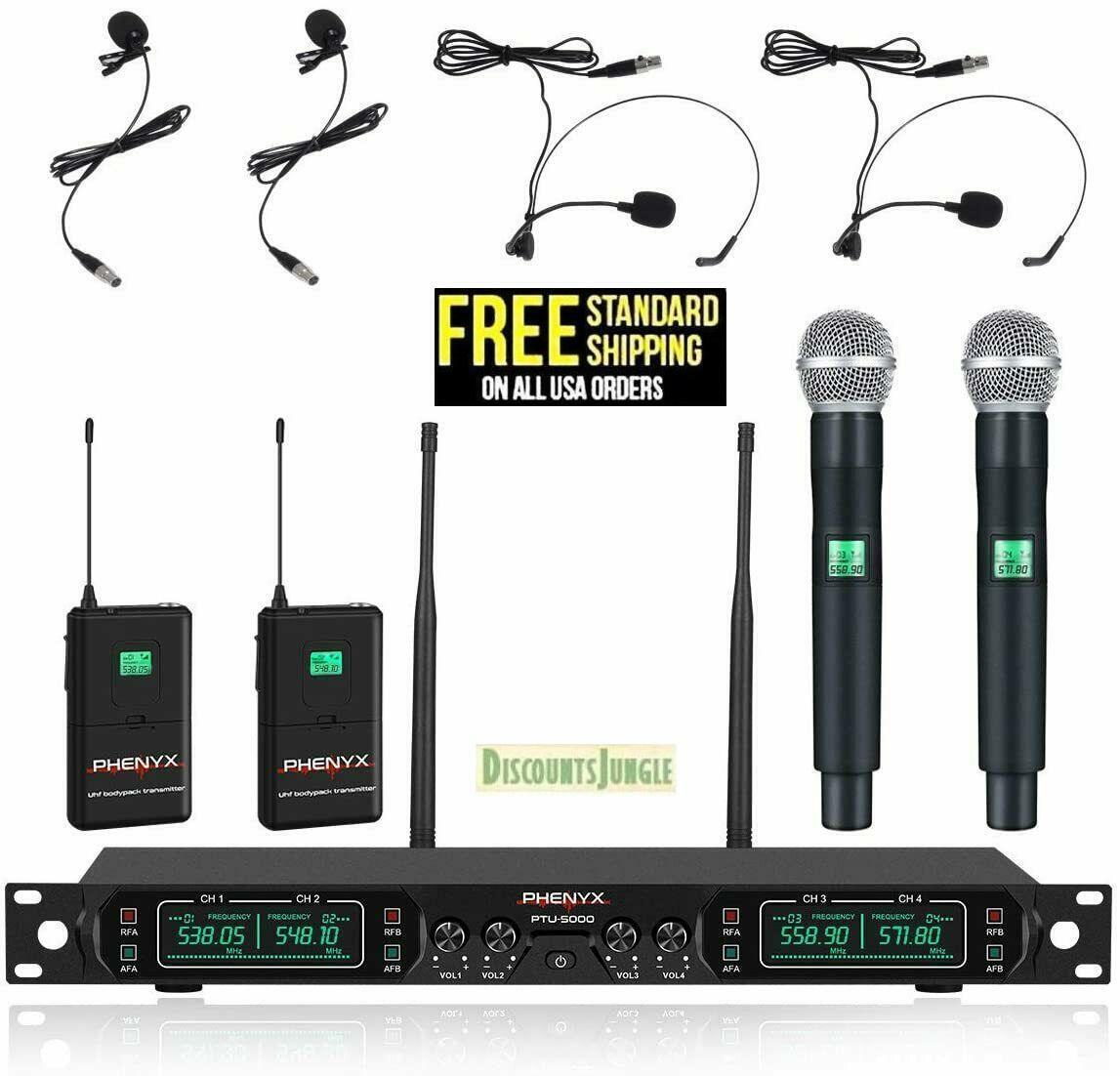 Phenyx Pro PTU-5000B Wireless Microphone System 4-Channel UH
