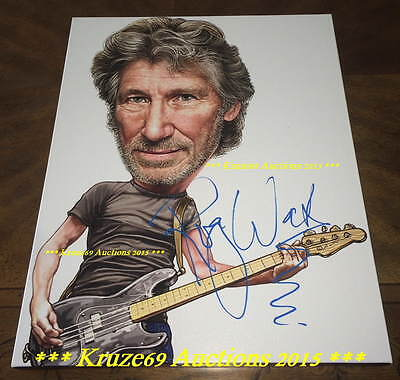 ROGER WATERS Auto SIGNED 16x20 CANVAS Caricature w/EXACT PROOF PINK FLOYD L@@K