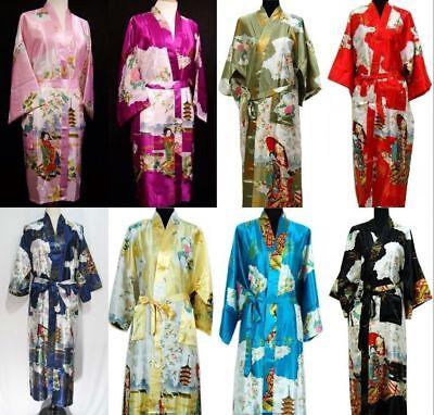 New Fashion Chinese Silk/satin women Men's Kimono Robe Gown Bathrobe -