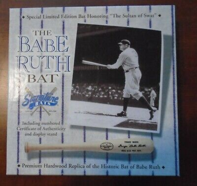 Babe Ruth Replica Bat, stand and Limited edition Card, NM