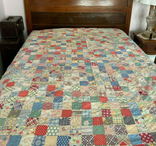 Vintage 1930s?  feedsack quilt handsewn tied small squares many patterns 71x81