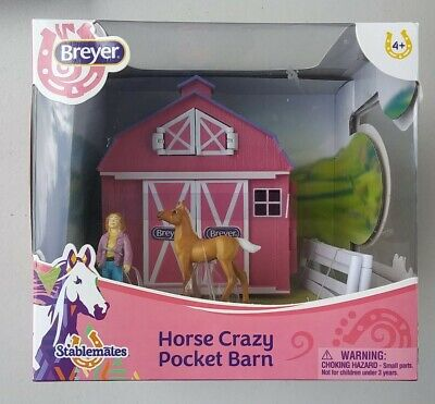 Breyer Stablemates Horse Crazy Pocket Barn and Horse Play Set New Toy