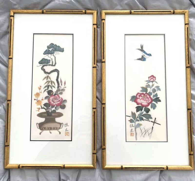 Exquisite Pair Faux Bamboo Wood Frame Chinoiserie Bonsai Bird Silk Print
