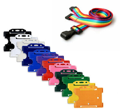 Rainbow ID Card Holder Neck Lanyard With Plastic J-Clip - NHS Care Worker Staff