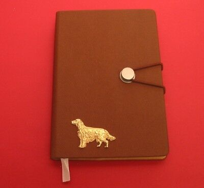 Irish Setter Gold Plated Pewter Motif on A6 Tan Notebook Mother Father Dog Gift