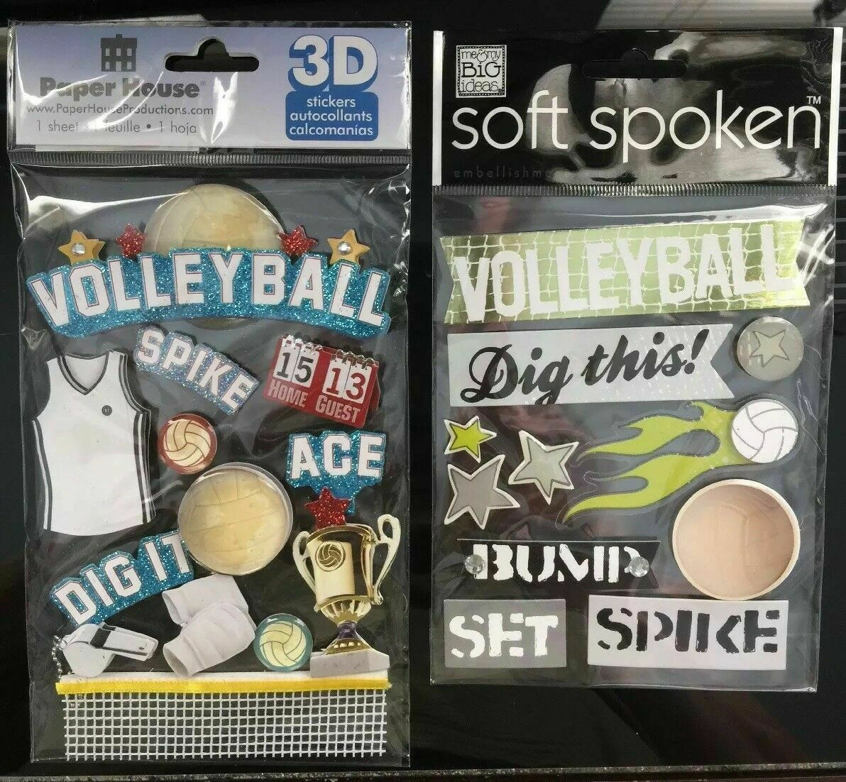 Soft Spoken Paper House Dimensional Volleyball Stickers Spike Trophy NEW - $11.99