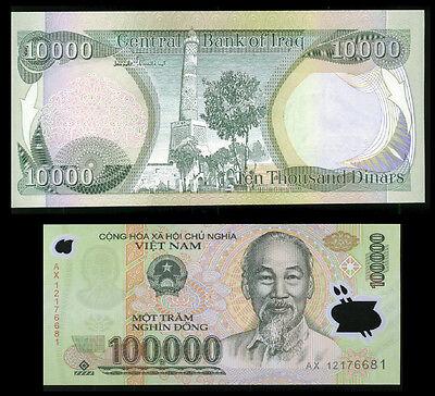 100000 Viet Nam Dong + A FREE 10000 New Iraqi Dinar