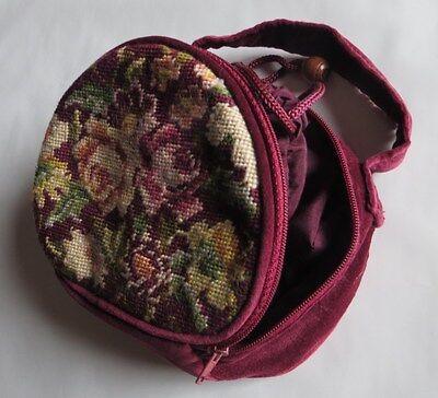 Sacoche velours brodé en coton et laine  - grande poche intérieure a fermeture c
