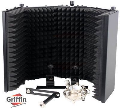 Studio Microphone Diffuser Isolation Sound Absorber Foam Panel Shield Stand Mic