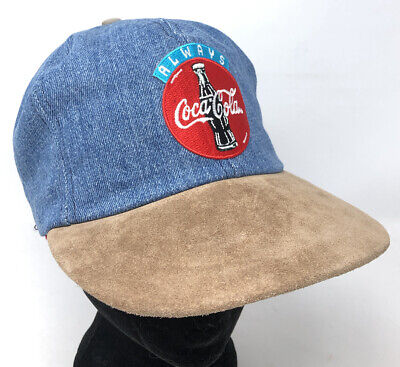 Vintage Always Coca Cola Denim Hat Cap Snapback Suede USA Coke Jean Made In USA