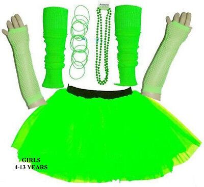 NEW GIRLS KIDS NEON TUTU SKIRT SET HEN PARTY 80'S FANCY DRESS ACCESSORIES GREEN