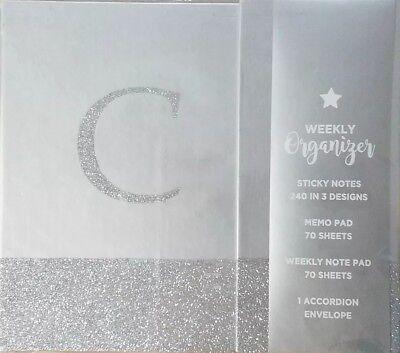 Monogrammed C Hardcover Weekly Planner Organizer Silver 13.8-123418006