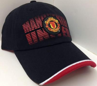 - Manchester united soccer hat cap red new black adjustable mufc official license