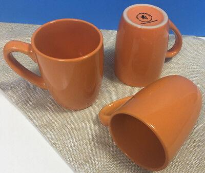 Set of 3 Orange Royal Norfolk Greenbrier International Coffee Cocoa Mugs Cups
