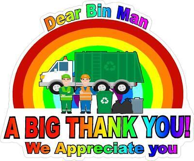 bin man Rainbow Thank You Key Workers Window Sticker NHS COVID Virus car house