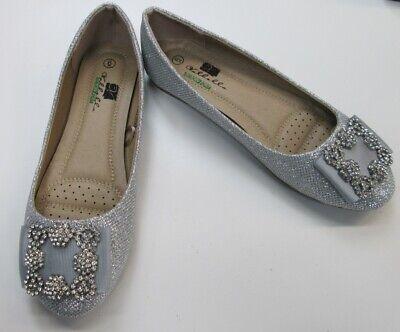 Valbella Memory Foam Silver Glitter Bow Flat Ballet Slipper Shoes