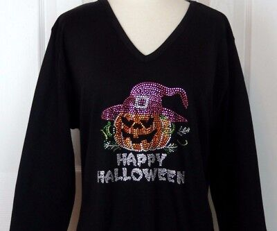SMALL Embellished Rhinestone Happy Halloween Witch Hat Pumpkin 3/4 Sleeve Top