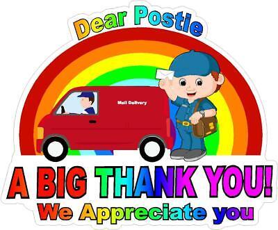 Postie Rainbow Thank You  Key Workers Window Sticker NHS COVID Virus car  house