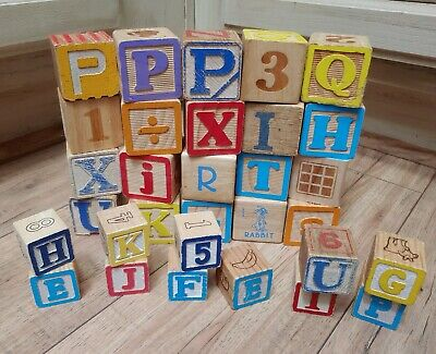"31 Vintage Wood wooden Blocks ABC + 123  colors   2""  Primitive Crafts"