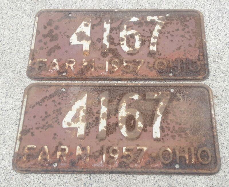 Ohio state 1957 FARM License Plate set pair lot 2 #4169 rusty country john deere