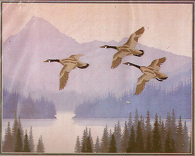 canada Geese In Flight Birds Lodge Cabin Northwoods Embellished Crewel Kit