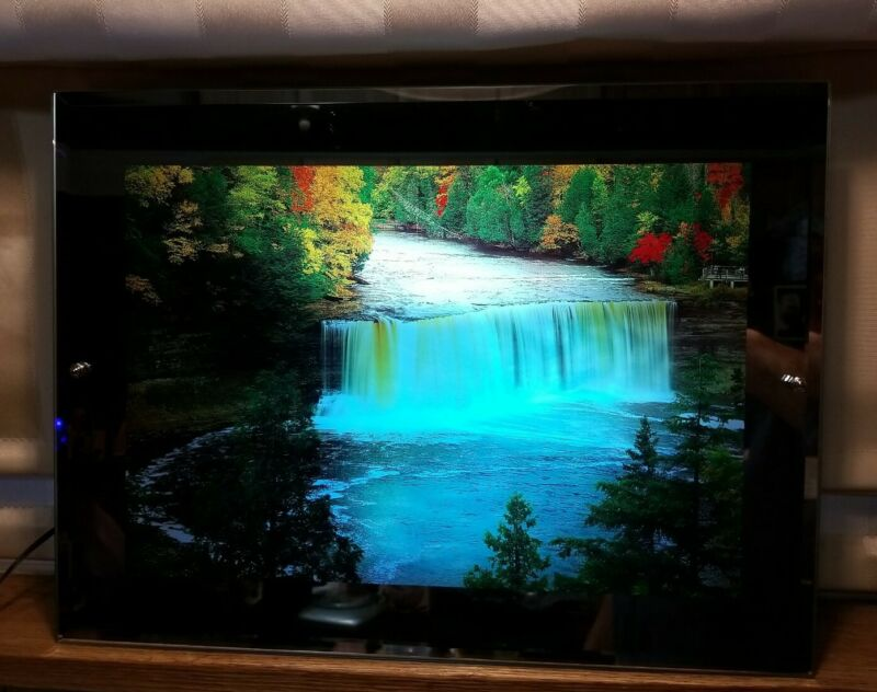 """Vintage Motion Light Up Waterfall Picture w/ Sound 16"""" x 12"""" tested Nice!"""