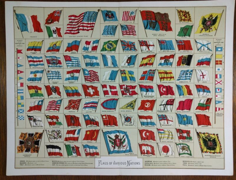 Vintage 1896 NATIONAL FLAGS EMBLEMS Map Print ~ Old Antique Original USA EU