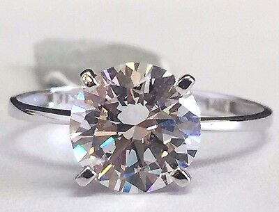 Solid 14K White Gold Solitaire CZ Engagement Ring - 8mm Cubic Zirconia (2 Carat)