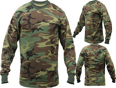 (Tactical Long Sleeve Camo Tee Mens Woodland Camouflage Military Army T-Shirt)