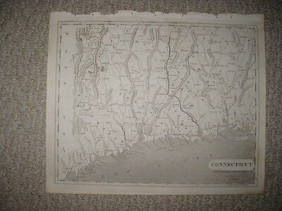 MINT IMPORTANT EARLY ANTIQUE 1805 CONNECTICUT ARROWSMITH & LEWIS COPPERPLATE MAP