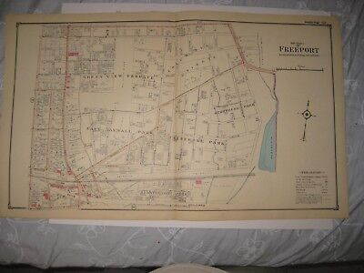 ANTIQUE 1914 OCEANSIDE WOODCLEFT FREEPORT NASSAU COUNTY NEW YORK HANDCOLORED MAP