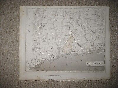 IMPORTANT VERY EARLY ANTIQUE 1804 CONNECTICUT ARROWSMITH & LEWIS COPPERPLATE MAP