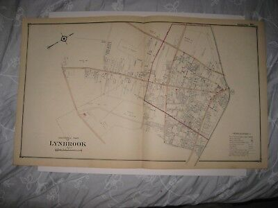 ANTIQUE 1914 LYNBROOK NEW HYDE PARK FRANKLIN SQUARE NASSAU COUNTY NEW YORK MAP N