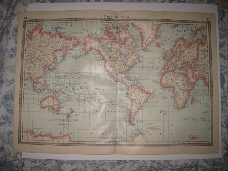 LARGE FINE VINTAGE ANTIQUE 1885 WORLD MAP ASIA UNITED STATES AUSTRALIA AFRICA NR