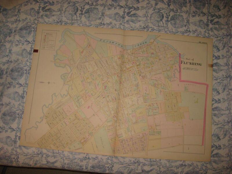 HUGE VINTAGE ANTIQUE 1891 FLUSHING QUEENS NEW YORK HANDCOLORED MAP SUPERB RARE