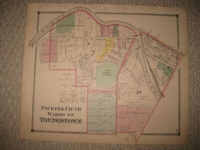 ANTIQUE 1874 YOUNGSTOWN 4th 5th WARD MAHONING COUNTY OHIO HANDCOLOR MAP RAILROAD