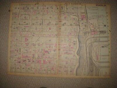 VINTAGE 1923 ANTIQUE WEST NEW YORK GUTTENBERG NEW JERSEY MAP RAILROAD DOCK AREA