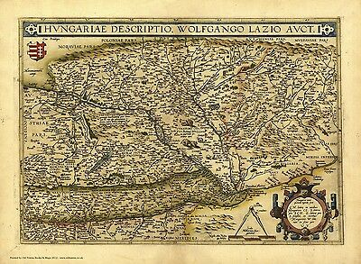 Hungary in 1570 - reproduction of an old  map by Abraham Ortelius