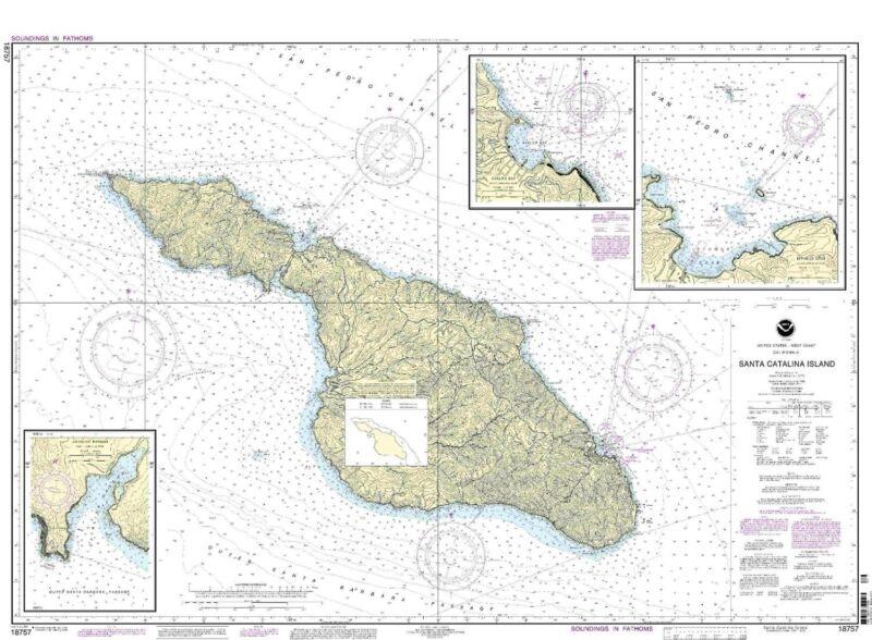 NOAA Chart Santa Catalina Island; Avalon Bay Catalina Harbor Isthmus Cove 18757